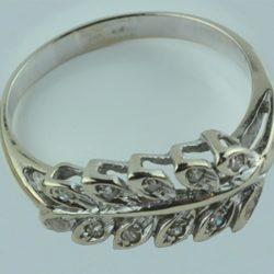 zilveren bladring, ring met steentjes, ring met diamanten, cadeau van zilver