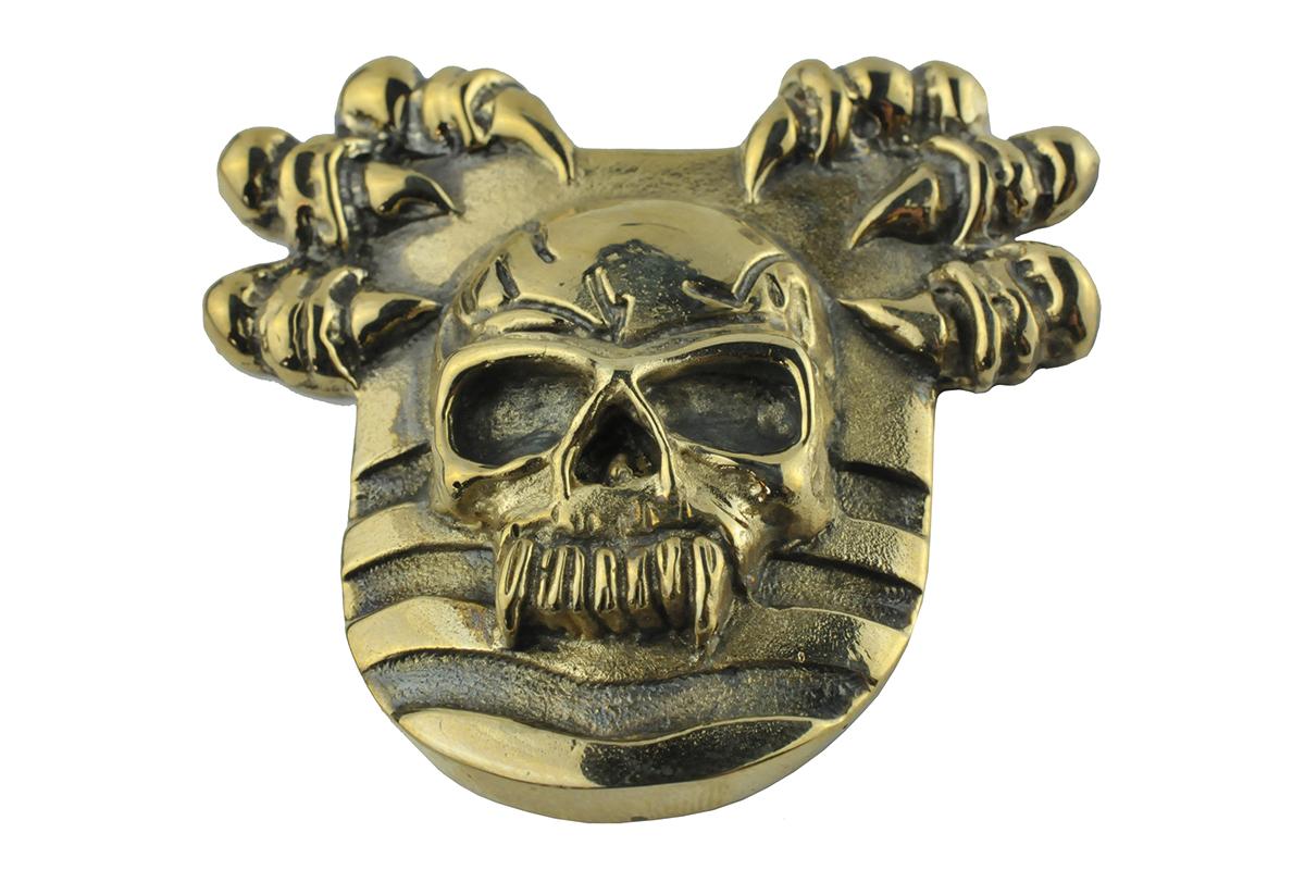gold skull, gouden doodskop, biker pin goud