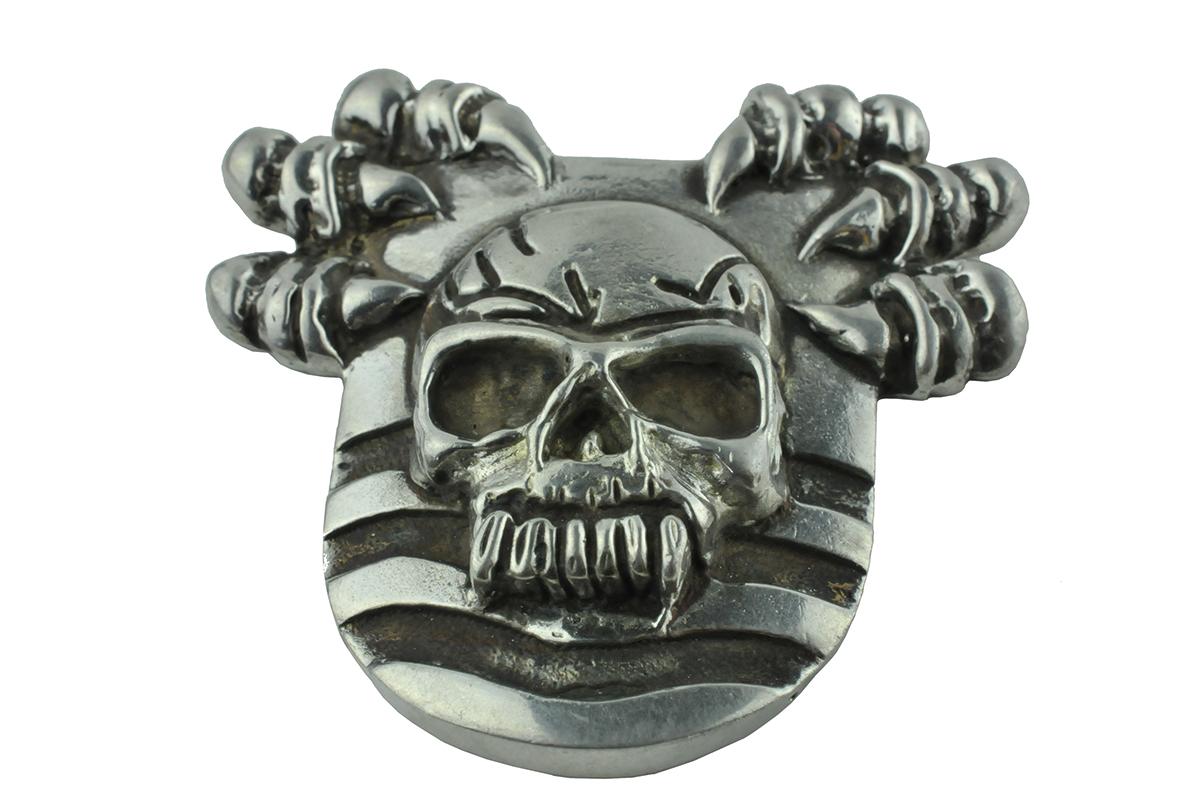 zilveren doodskop biker pin, silver skull biker pin